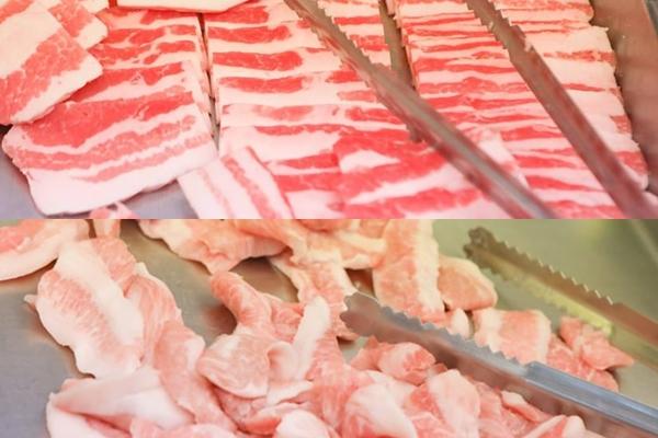 『沖縄式島豚焼肉ばんない』豚バラ(上)と豚トロ(下)