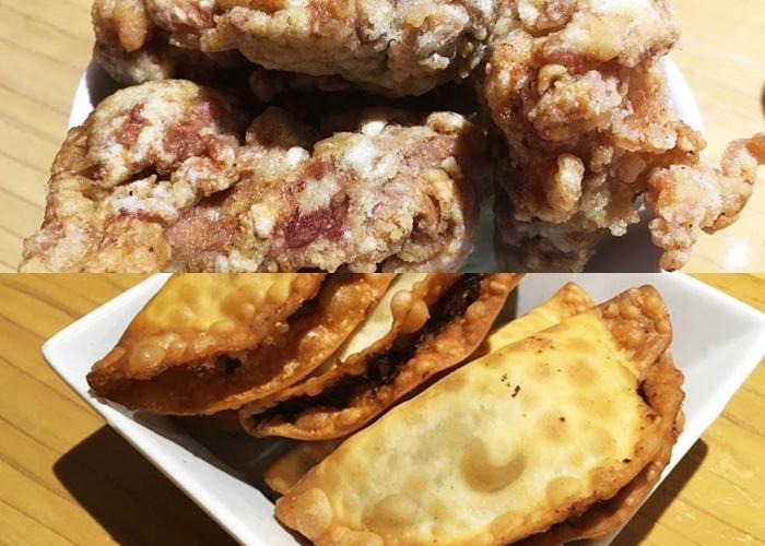 『餃子屋たぬき』唐揚げ(上)と揚げ餃子(下)