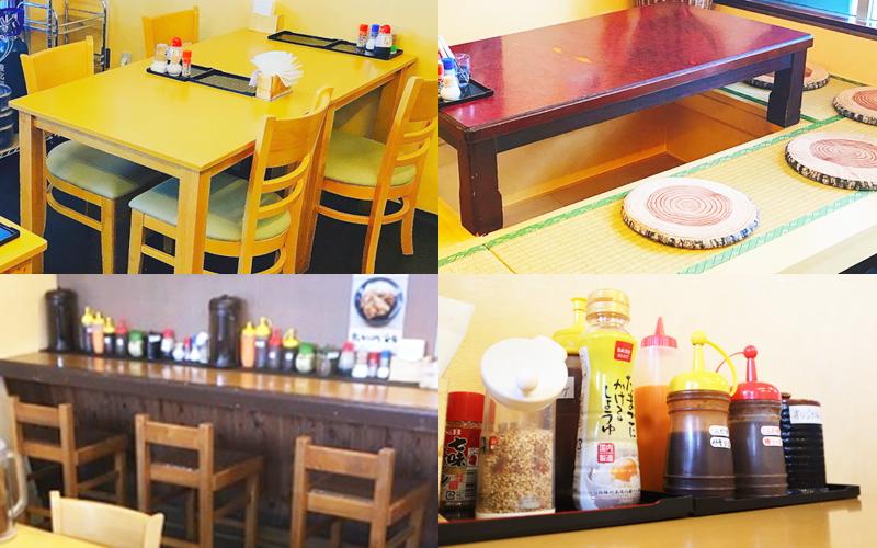 『豚喜(とんき)』店内の雰囲気 テーブル席(左上)掘りごたつ席(右上)カウンター席(左下)色々なソース(右下)