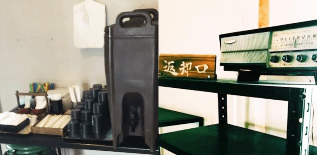 『天兎屋』セルフコーナー(左)食器返却口(右)