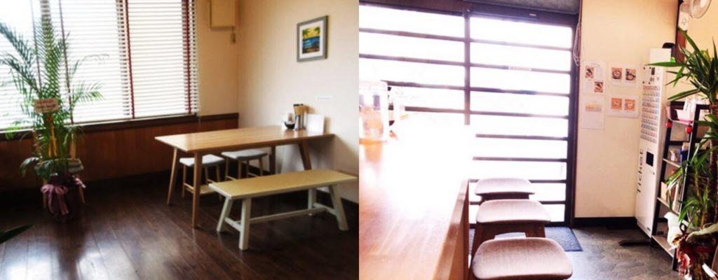 『NAGISA』店内の雰囲気 テーブル席(左)カウンター席(右)