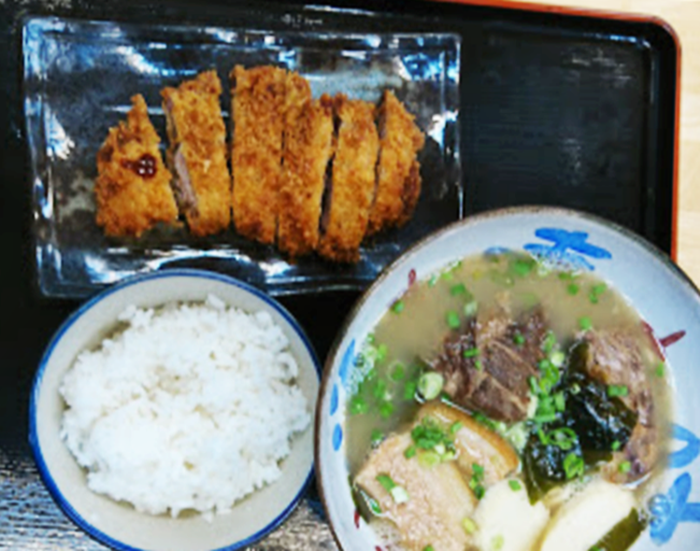 『寿味食堂』寿味そばの半カツセット