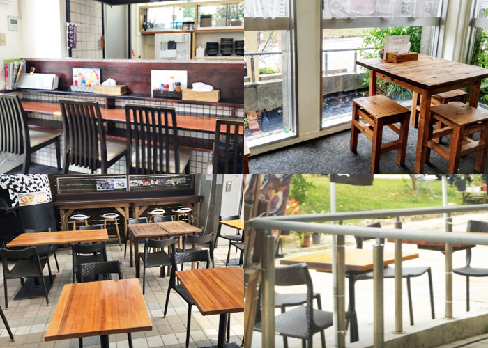 『ひがし食堂Jr』店内とテラス席の雰囲気