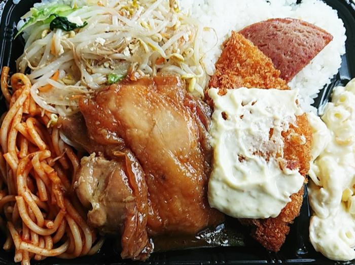 『むんじゅる弁当』チキン照り焼きと白身魚フライ弁当