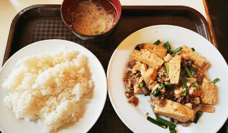 お食事処 三笠 牛肉ととうふのニンニク炒め