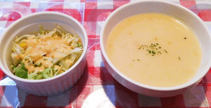 サウザンステーキ サラダとスープ