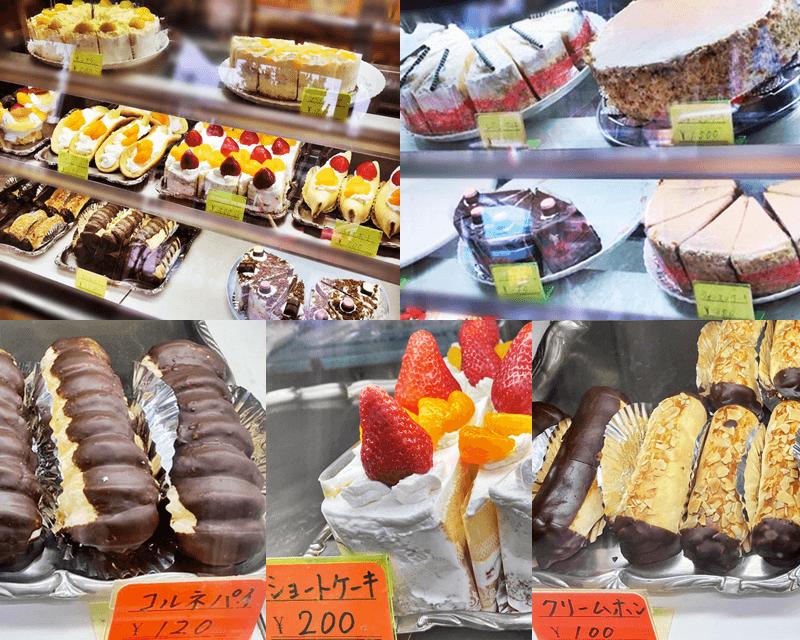 城間和洋菓子店 ケーキのショーケース