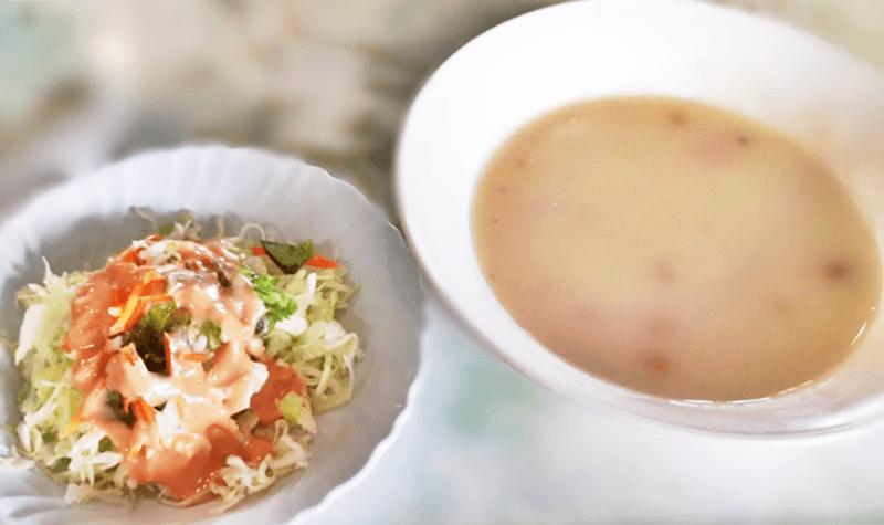 ステーキハウス金松 サラダとスープ